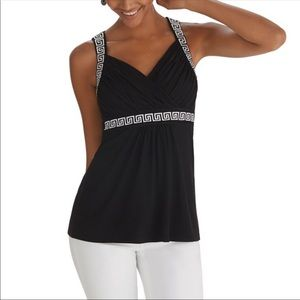 White House Black Market Embroidered Tank Top